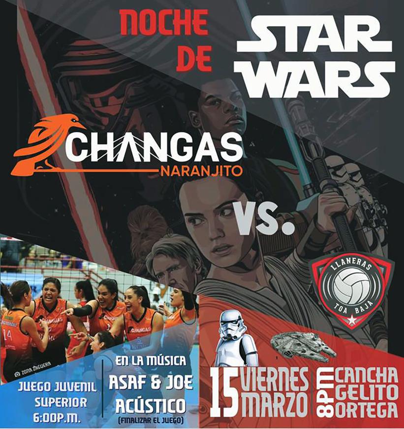 Arte promoción del partido entre Changas vs. Llaneras por Facebook de las Changas de Naranjito