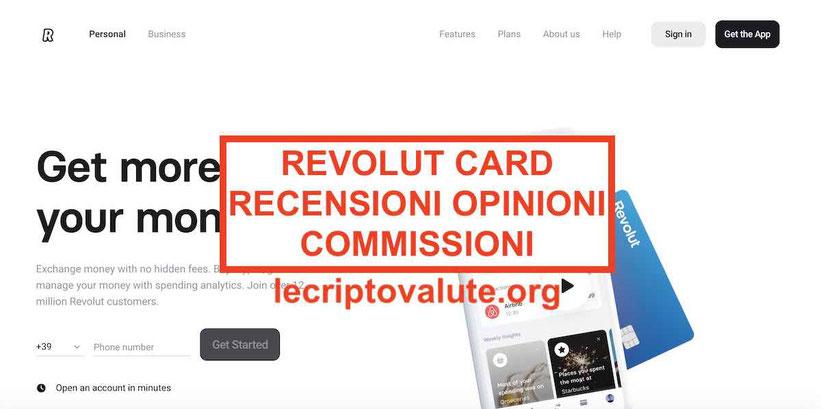Revolut recensioni app Italia Costi carta:come funziona card criptovalute bitcoin