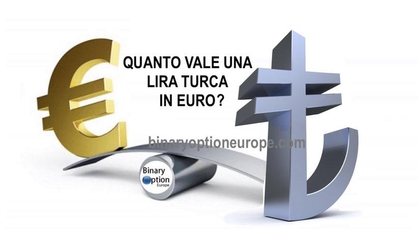 quanto vale una lira turca in euro in tempo reale