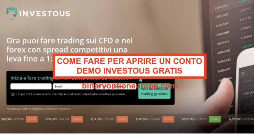 Investous demo gratis: Come fare per aprire un conto demo Investous