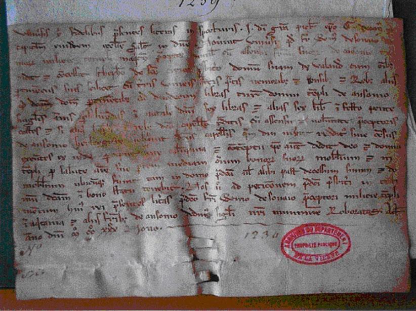 acte de concession de la maison de Volandon à Etienne de Saint-Cyr par Guillaume de Sonay
