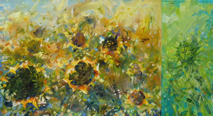 Titel:Sonnenblumen • Format: 120 cm x 60 cm  • Technik: Acryl auf Leinwand