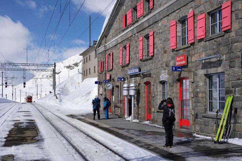 Rhätische Bahn Bahnstation Ospizio Bernina Pass