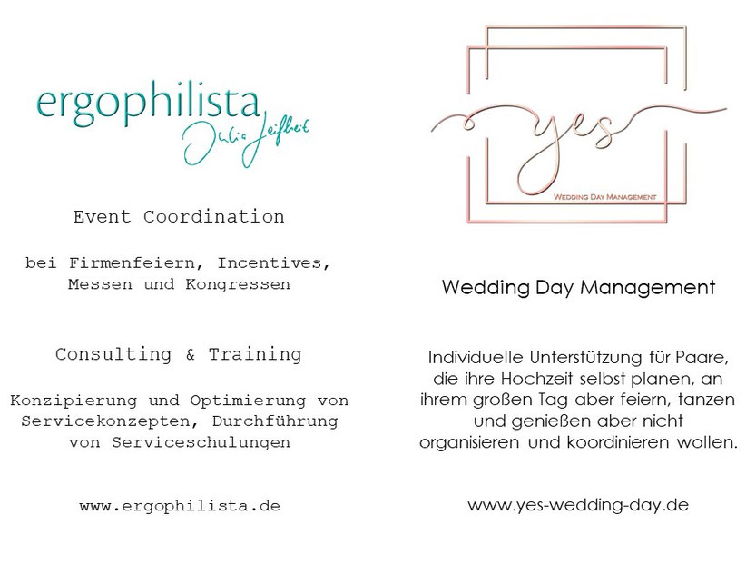 ergophilista Project Management und yes Wedding Day Management München