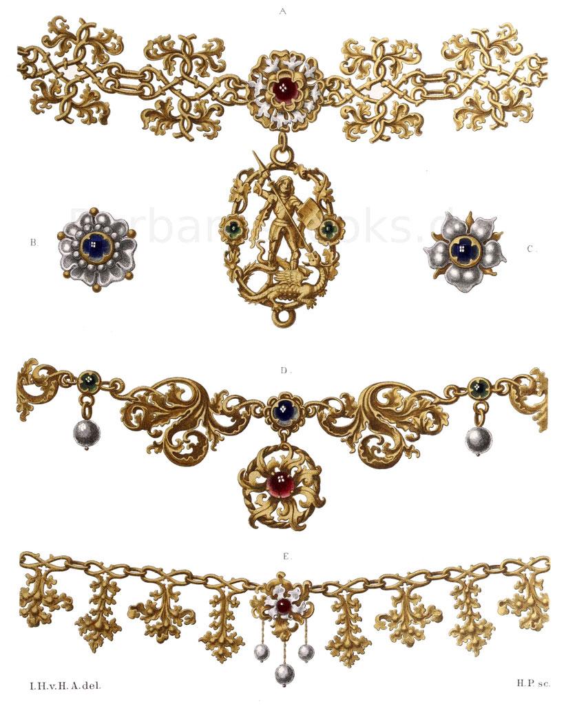 Schmuck aus Silber, teilweise vergoldet, mit Perlen und Steinen geziert, aus der zweiten Hälfte des 15. Jahrhunderts.