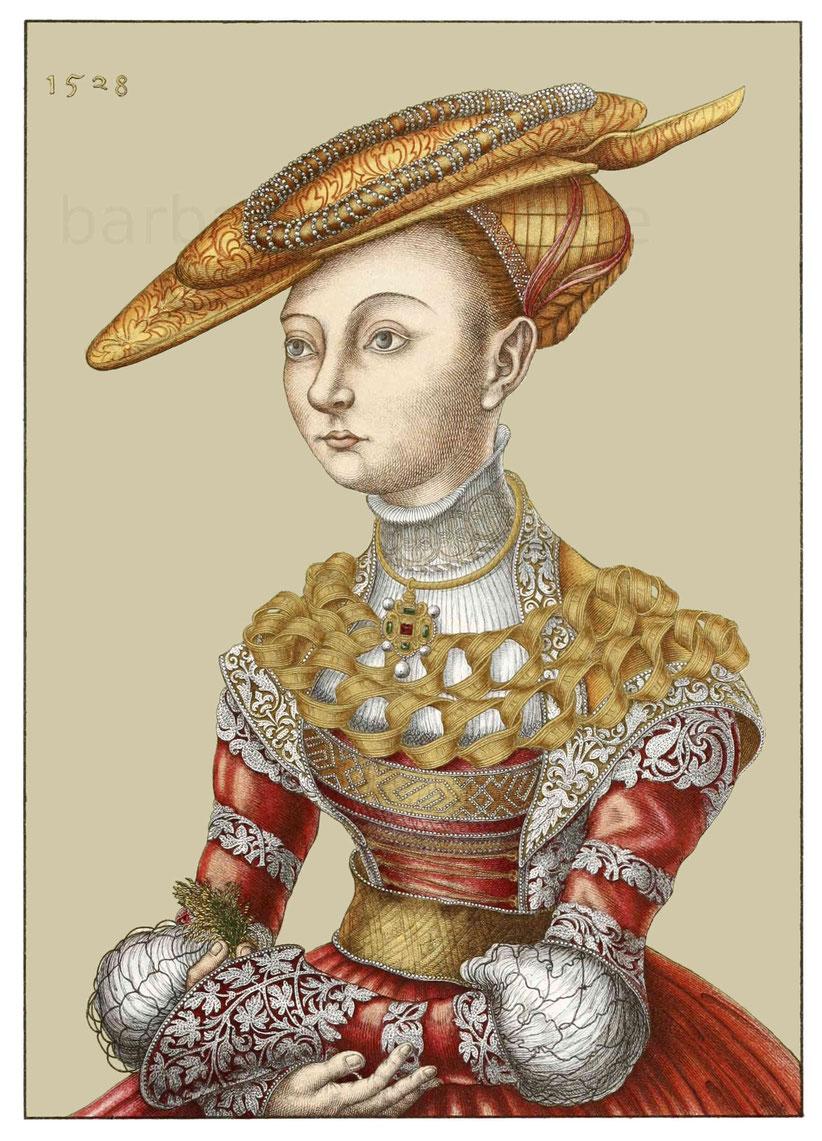 """Bildnis einer Dame nach einem Ölgemälde in der Galerie der """"patriotischen Kunstfreunde"""" zu Prag, mit der Jahreszahl 1528."""