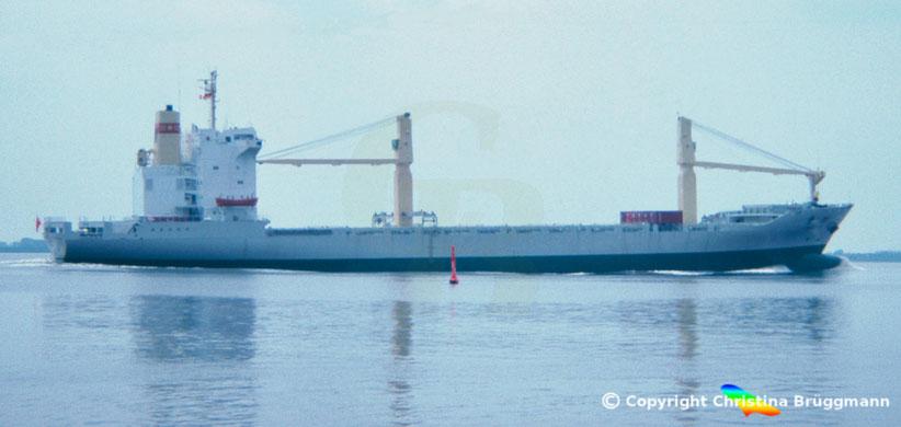 Containerschiff TANG HE auf der Elbe 1983, Jungfernfahrt