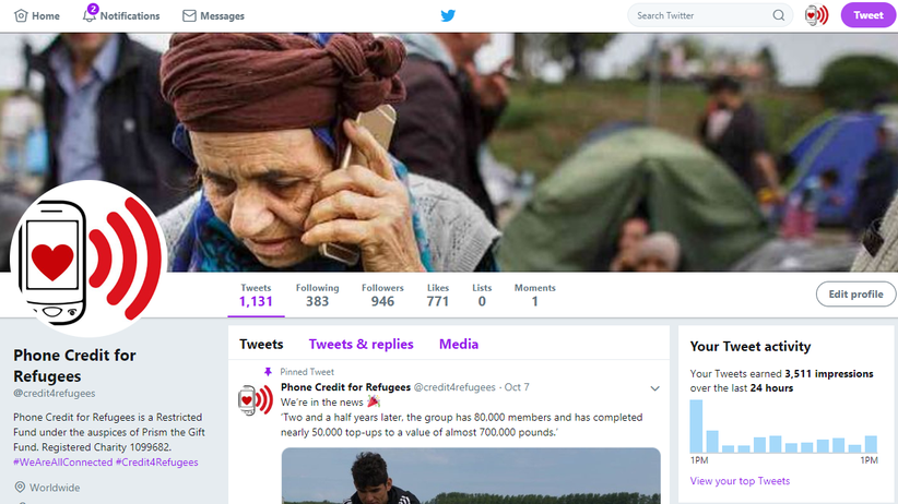 Phone Credit for Refugees and Displaced People - twitter - social media community