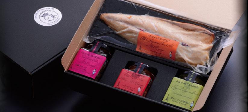 フランス流 前菜 アペリティフ4点セット  『牡蠣スモーク』・『タラコスモーク』・『サバスモーク』・『茎ワカメの味噌漬け』