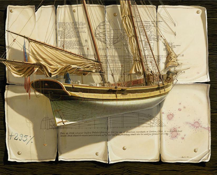 """""""Schooner Yacht for Canton"""" 80x100cm, 2014, verkauft"""