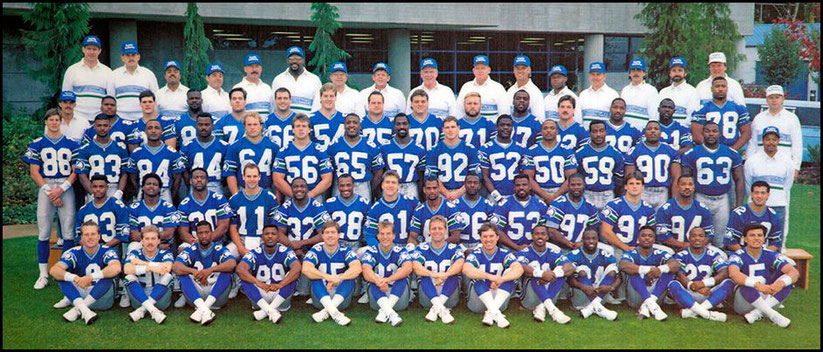 Thom Kaumeyer (far right second row from front) with the 1989 Seattle Seahawks