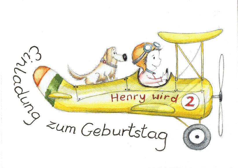 Illustration Kind-Junge-Pilot-Hund