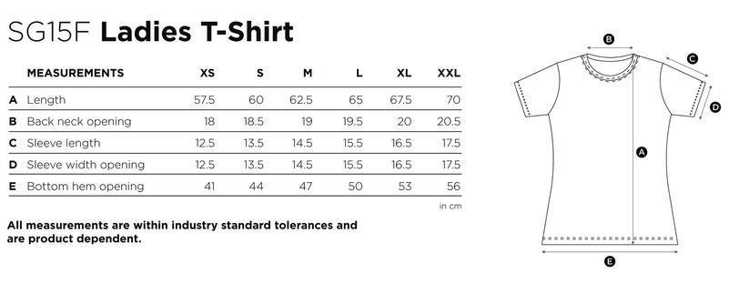 Maße Größen Size SG15F  Ladies T-Shirt