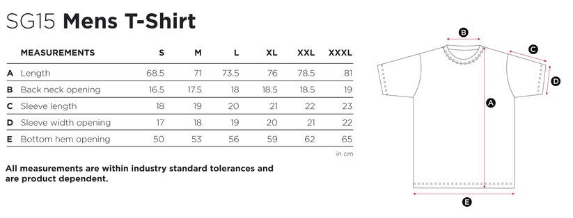 Maße Größen Size MensT-Shirt  SG15