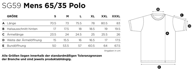 Maße Größen Size Mens Poly Cotton Polo 65/35 SG59