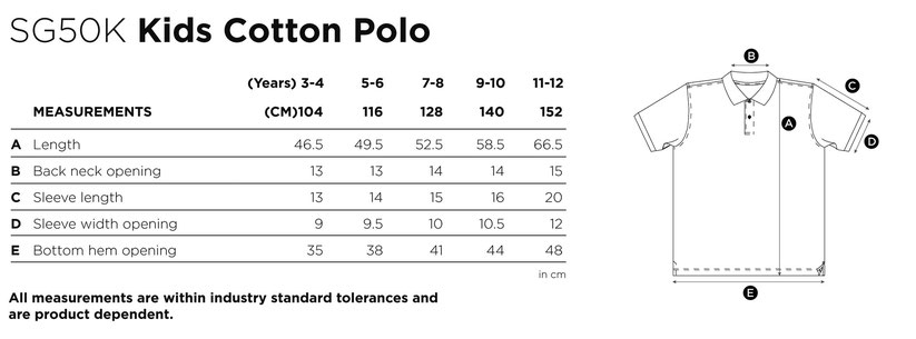 Maße Größen Size SG50K  Kids Cotton Polo