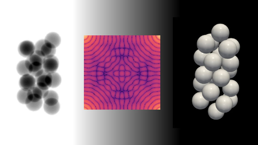 Left: x-ray radiography of an assembly of mono-sized spheres. Center: Fast Fourier Transform of a single sphere. Right: 3D reconstruction of the spheres.