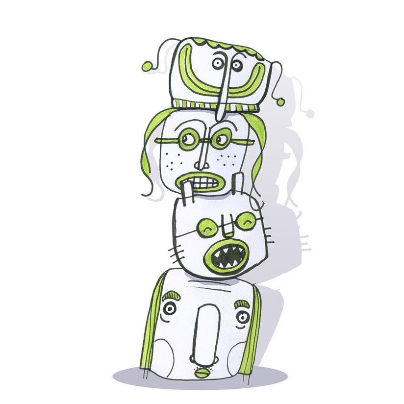 Illustration, vier Köpfe als Selbstporträt des Künstler, mit Katze und Joker, grün, Zeichnung mit Tusche und digitaler Farbe von Frank Schulz Art
