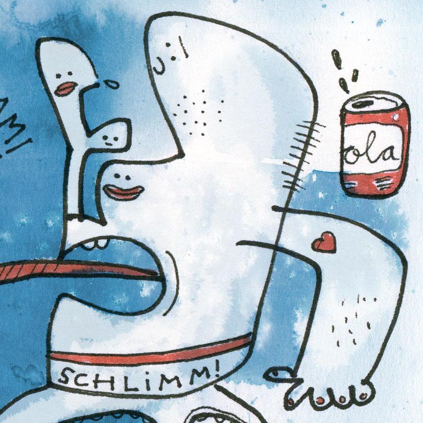 Illustration, Cola, blau, rot, Zeichnung mit Aquarell von Frank Schulz Art