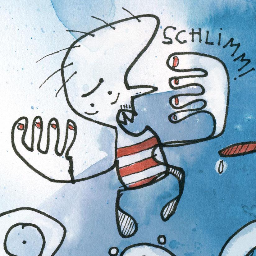 Illustration, kleiner Mann schreit schlimm, blau, rot, Zeichnung mit Aquarell von Frank Schulz Art