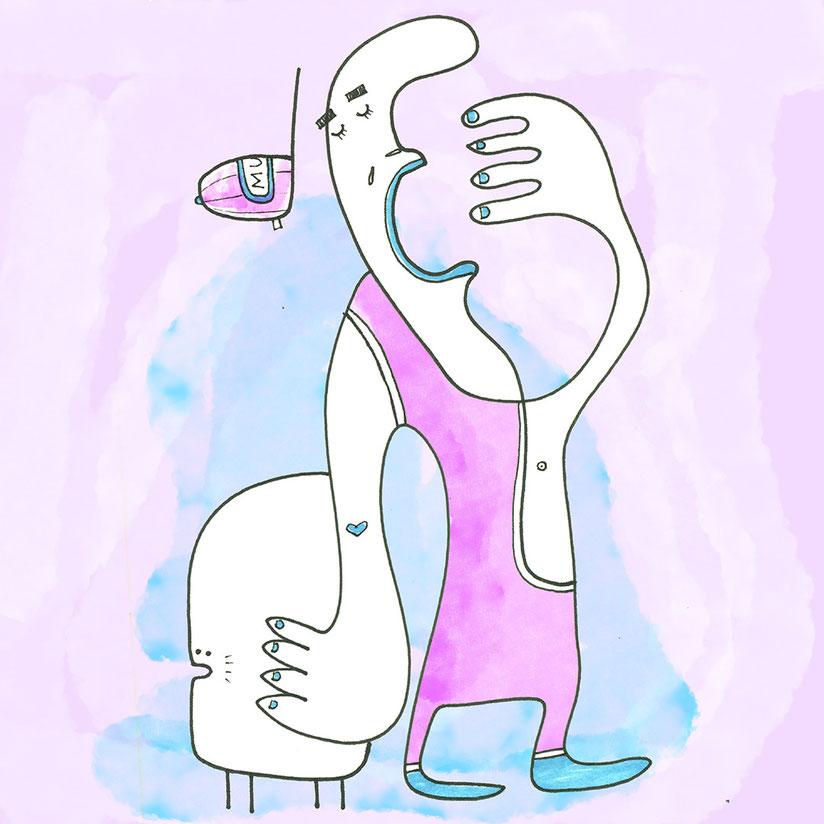 Illustration, Mann im Gymnastikanzug mit Haustier gähnt, Zeichnung mit Tusche und Aquarell von Frank Schulz Art