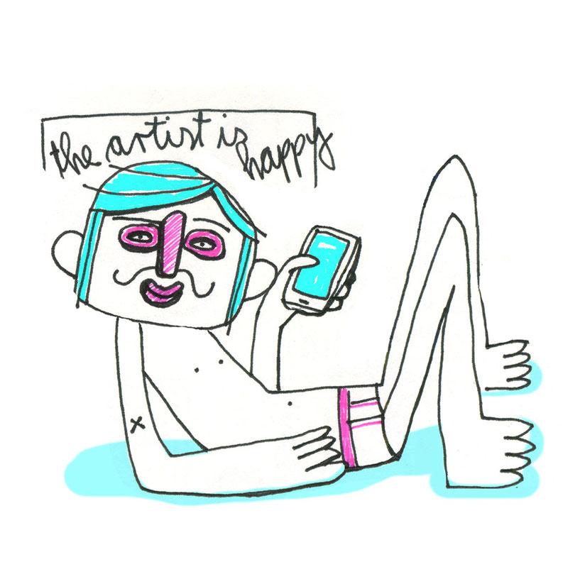Illustration, Selbstporträt des Künstler mit Handy in der Pose des Chac Mool, Zeichnung mit Tusche und digitaler Farbe von Frank Schulz Art