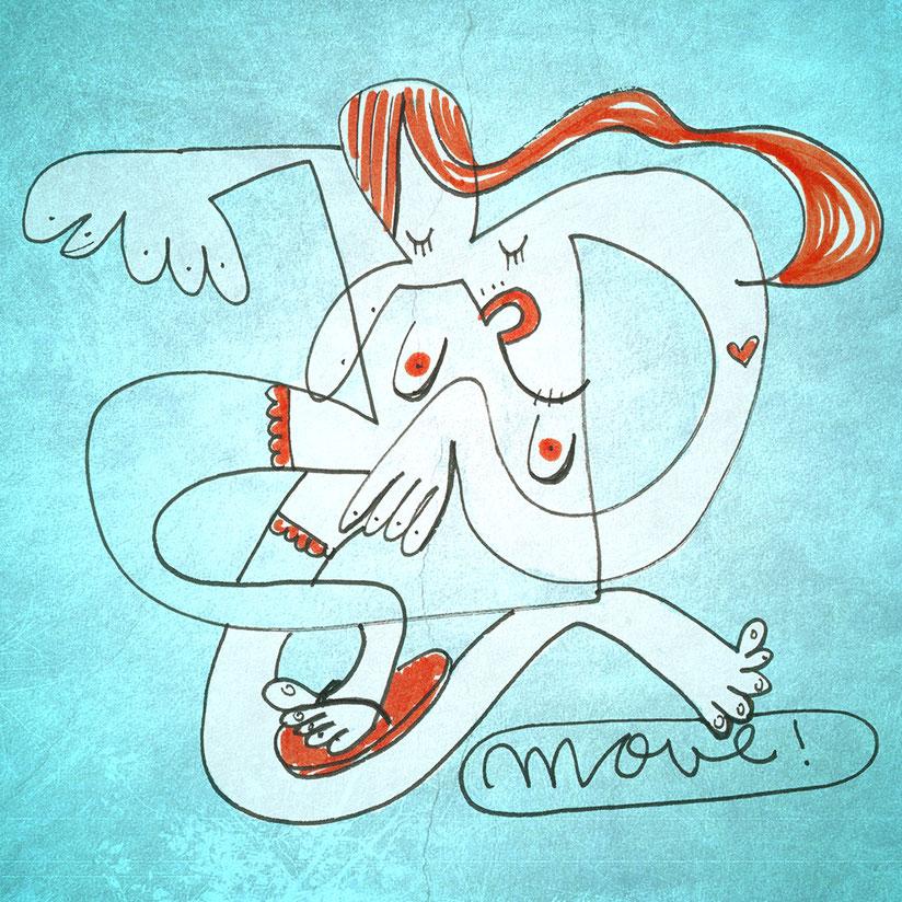 Illustration, nackte Frau mit Flip Flops tanzt mit geschlossenen Augen, Zeichnung mit Tusche und digitaler Farbe von Frank Schulz Art