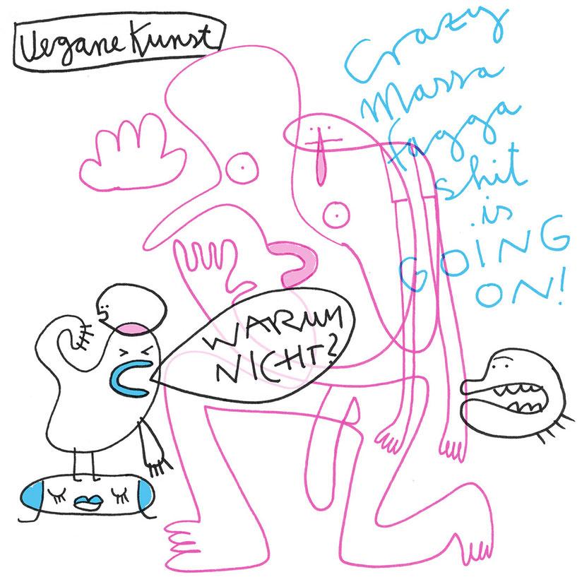 Illustration, Nackter Mann präsentiert vegane Kunst, Zeichnung mit Tusche und Aquarell von Frank Schulz Art