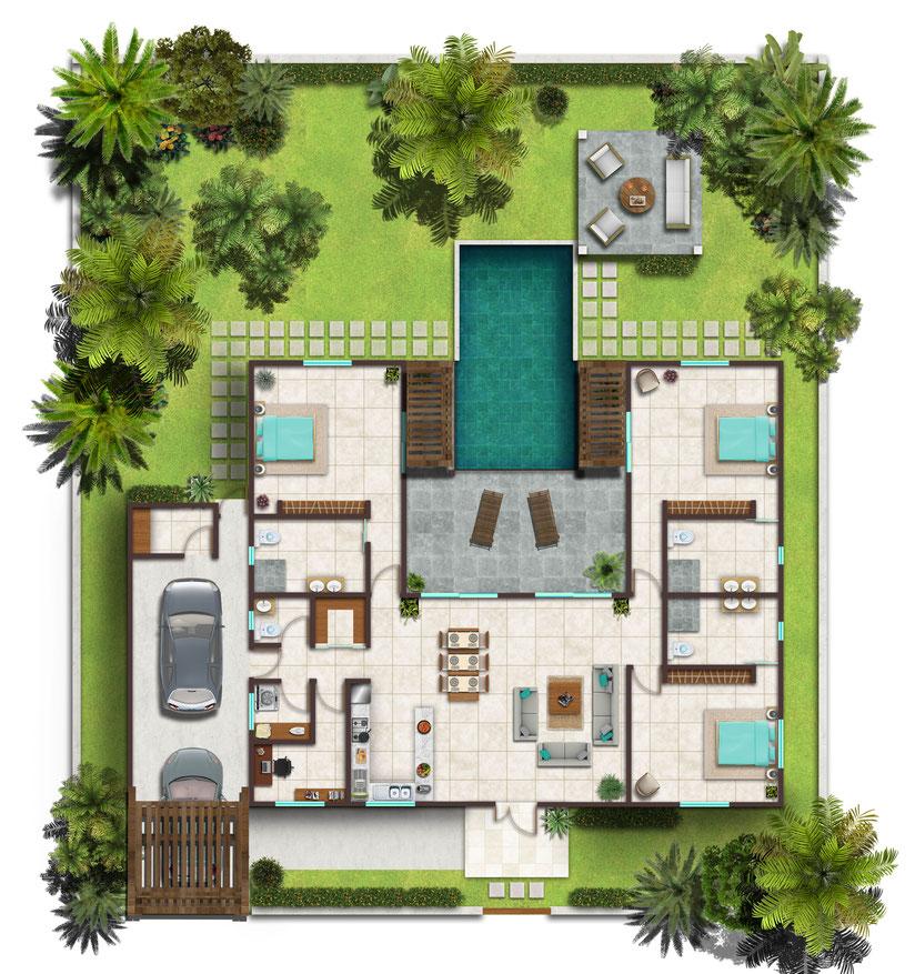 plan de a villa en revente TROPICA BAIE ILE MAURICE