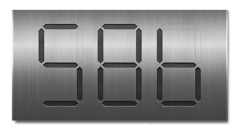 Beispiel für eine dreistellige Segment-Hausnummer mit schwarzer Farbkarte