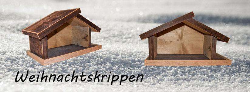Design Holz Krippen | Schlichter Design Krippenstall aus rustikalem Schweizer Föhren Holz | Handarbeit | Eimzigartig