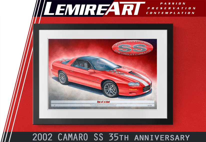 The 2002 Camaro SS 35th Anniversary drawn portrait by Alain Lemire