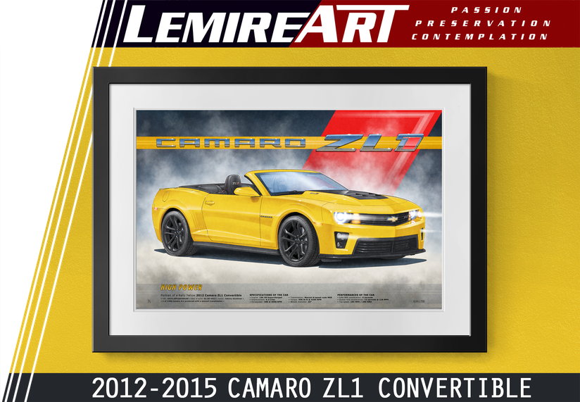 Camaro ZL1 convertible art print 5th generation by Lemireart