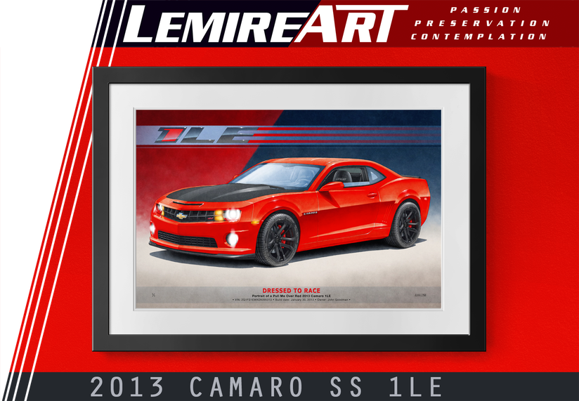 Drawn portrait of a Camaro 1LE 2013 in Victory Red