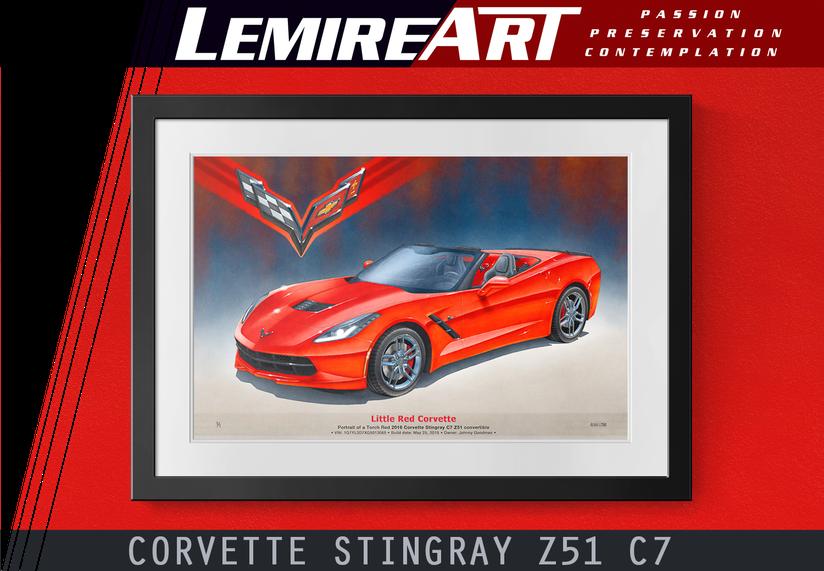 C7 Corvette Stingray Z51 convertible drawn portrait from Lemireart