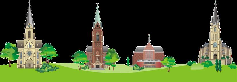 Pictogramme der 4 Gemeindekirchen