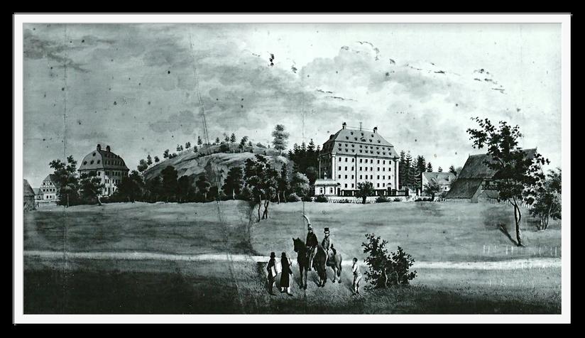 Schnabelsche Spinnmühle um 1814 / Quelle: Verlag Heimatland Sachsen