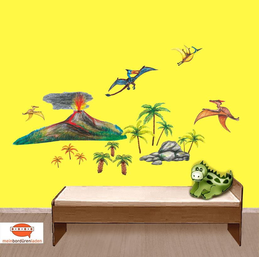 Wandtattoo-Set: Urzeit Dinos mit vielen Flugdinos und einem Vulkan - 17 teilig
