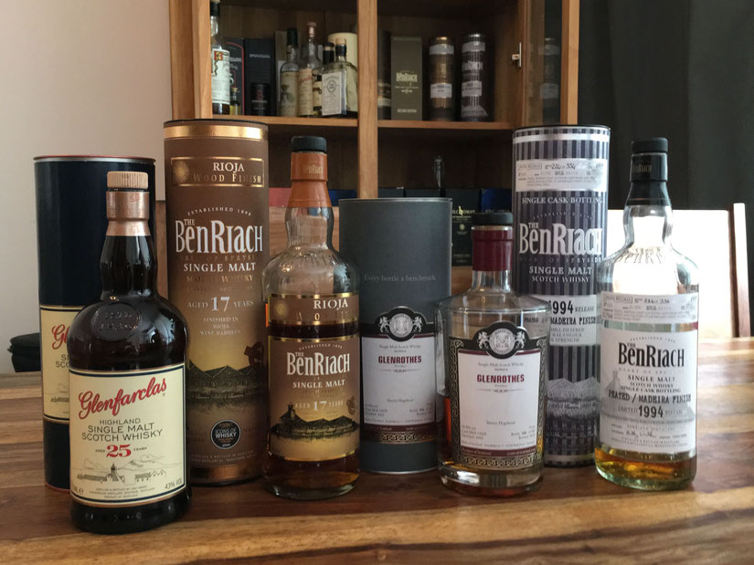 Glenfarclas Highland Single Malt Scotch Whisky Aged 25 Years, BenRiach Single Malt Scotch Whisky Rioja Wood Finish Aged 17 Years, Glenrothes Single Malt Scotch Whisky Aged Hogshead 14 Years , BenRiach Single Malt Scotch Single Cask Bottling Limited 1994