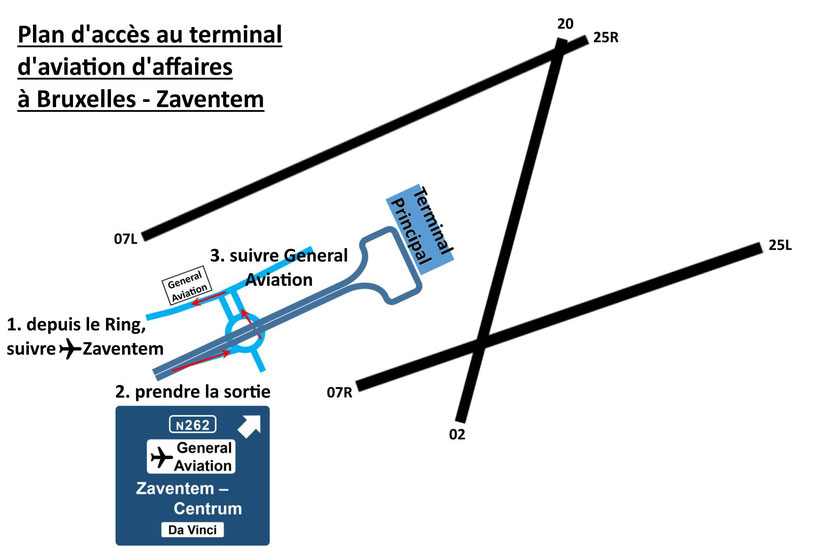 Plan d'accès au terminal d'aviation d'affaires à Bruxelles - Zaventem
