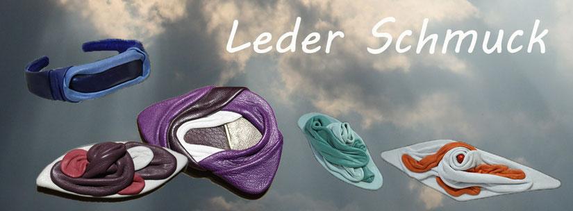 Lederschmuck | Designschmuck aus Leder | Schmuckdesign | Modeschmuck | Broschen | Haarspangen | Haarreifen | www-blaser-design-bern.ch