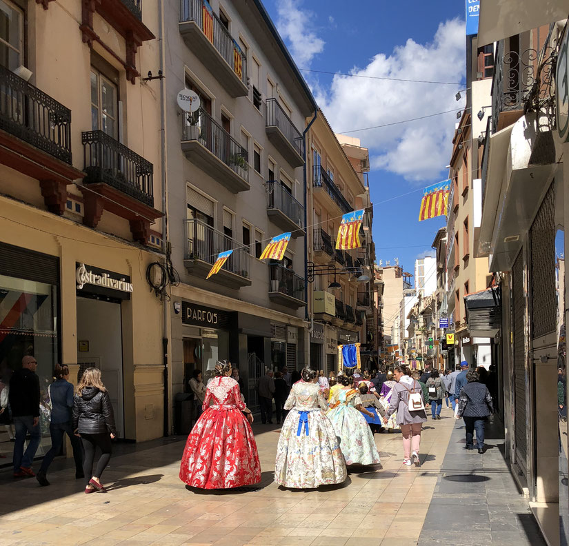 Fallas, Gandia, Calle Mayor,  März 2018