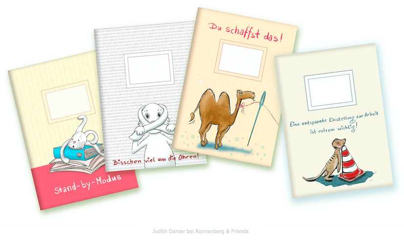 Vier humorvoll illustrierte Kladden mit motivierenden Sprüchen für Arbeit, Schule oder Zuhause.  Text und Illustration von Judith Ganter Verlag Rannenberg & Friends