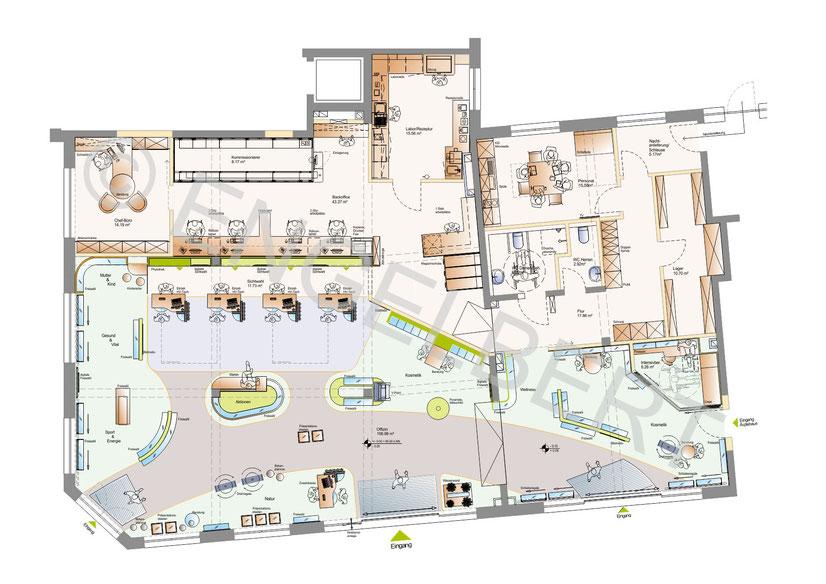 Konzeptplanung einer Apotheke mit Laufwege