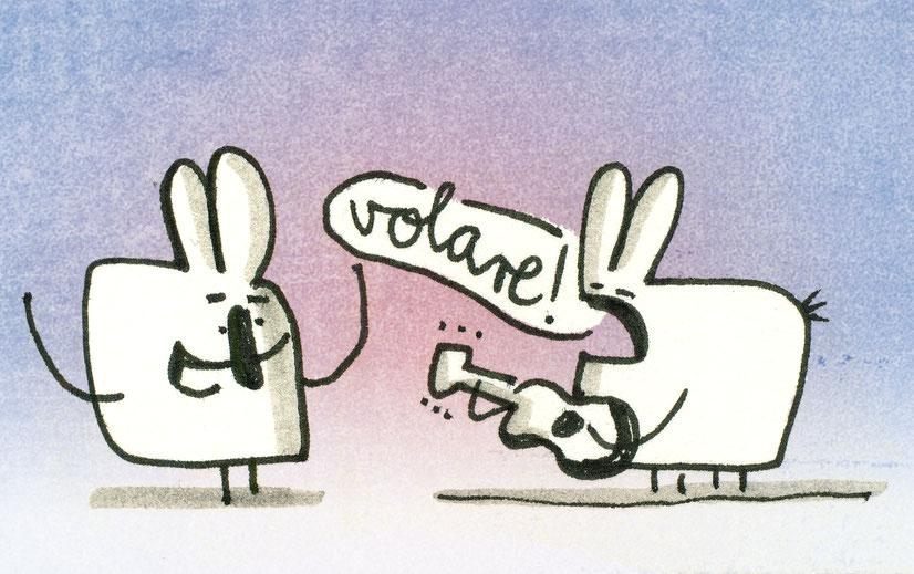 Illustration Volare, Zeichnung mit Tusche auf Papier von Frank Schulz Art, zeigt zwei Hasen mit Gitarre und Gesang