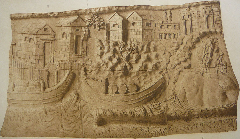 Dettaglio della Colonna Traiana, raffigurante il dio Danubio e la conquista della Dacia - Roma