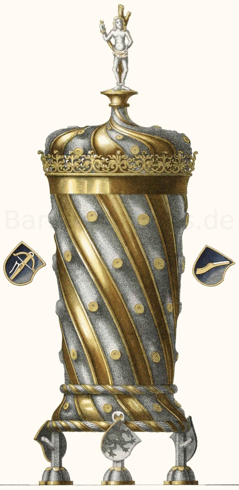 Pokal aus Silber, mit teilweiser Vergoldung, aus dem Schluss des 15. Jahrhunderts.