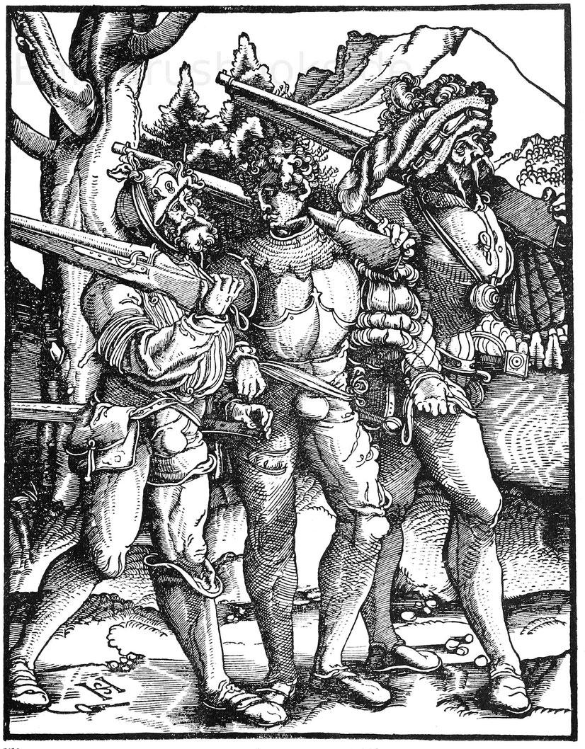 Drei Landsknechte mit Luntenschlössern aus dem 16. Jhd. Holzschnitt von H. Schäufelin (1480-1540)- Dresden, Kupferstichkabinett.