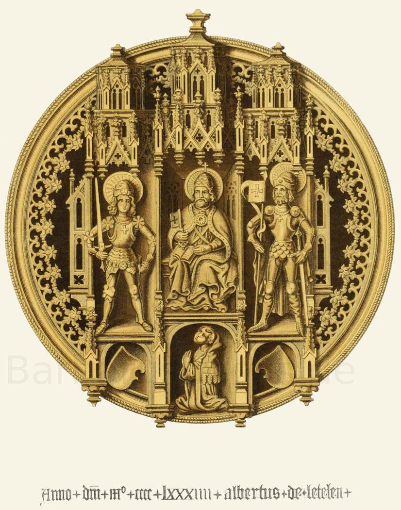 Monile oder Agraffe eines Pluviales oder Chormantels, aus vergoldetem Silber vom Jahr 1484.