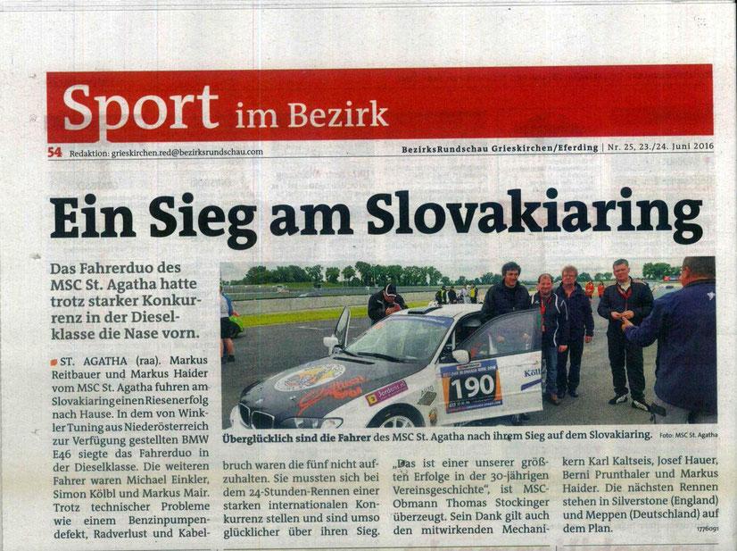Bericht in der Bezirksrundschau Grieskirchen/Eferding Nr.25, 23./24. Juni 2016